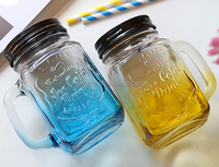 gradient colorful 450ml glass mason jar with handle and straw lid wholesale