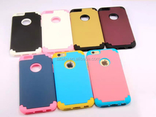 High Quality 2 in 1Shockproof Double Colors PC + Silicon Hybrid Protective Hard Back Cover Case For iPhone 6