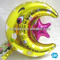 Foil customized moon star shaped crown foil balloon