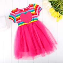 New 11 year old Girl's O-Neck Striped Mesh Splicing Sweet Dresses SV017766