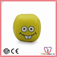 GSV SEDEX Factory customized printed kids soft sport toy smile face puffer ball
