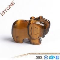 New Tiger Eye Elephant Figurine Stone Crafts For Feng Shui Reiki Healing & Home Decotation