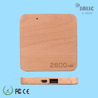 promotional portable square shape beech wood power bank 2500mah small capacity single usb 5v 1a output