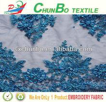 2013 nuevo estilo de lentejuelas con perlas y bordados en tela tull tela para la boda y vestido de noche
