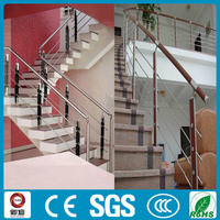 interior stair stainless steel railing with wooden post
