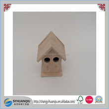 small unfinished paulownia wood bird cage with 2 holes