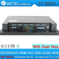 Newest 12 inch led tv computer for office or home with Intel D2550 1.86Ghz 2*1000M Lan with 4G RAM 16G SSD 320G HDD