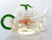 Kung fu Coffee Tea Set -20.3 fl.oz Pumpkin Shape Heat-Resisting Glass Tea Pot with infuser Green Lid