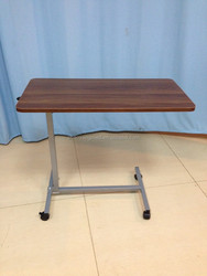Hospital furniture manufacturer height adjustable wooden top poder coated frame over bed table with wheels CY-H814A