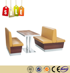 Restaurant chair double seats solid wood leather restaurant sofa for sale