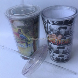 Colorful Insulated Water Bottles Straw, Unbreakable Plastic Cup With Straw, Double Insulated Water Bottles Straw