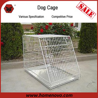 Foldable Durable Anti-rust Heavy Duty Metal Trapezoid Commercial Dog Cage With Free Moving Divider Inside