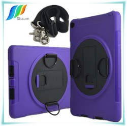 For ipad 2/3/4 Case With Shoulder Belt Strap Stand 360 Rotation Retina Screen Film