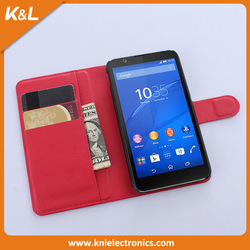 Flip Wallet Stand Cover Leather Case,Book Magnetic Leather Case For Sony Xperia E4