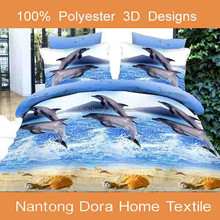 100% polyester animal dolphin printed bedsheets, 3d bed sheet
