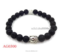 Men's Beaded Buddha Bracelet, lave stone bracelet, Buddha Head Yoga Mala Bracelet