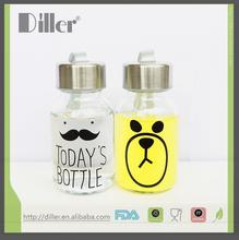 wholesale custom private lable reusable glass water bottle blue