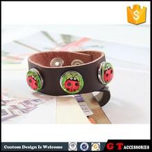 2015 New Style Ladybird Bracelet Leather, Handmade DIY Time Gem For Women Men