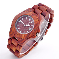 OEM Style New bewell wooden watch wholesale quartz movement calendar waterproof men's wooden watch