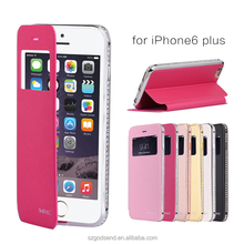 For iPhone 6 plus Phone Case, Luxury Diamond Metal Bumper Case+Leather Flip Cover Case for iPhone 6 plus