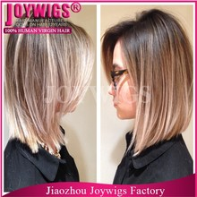Dark Roots With Highlight Shot Bob Full Lace Wig For White Women