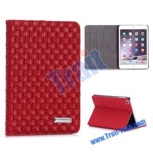 Cheap Factory price Alibaba Promotional Woven Texture Pattern Flip Stand PC+PU Leather Case for iPad Mini/2/3 Retina