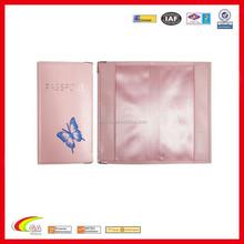 Pink Butterfly PVC Passport Holder With Metal Corner/Passport Cover Silkscreen Logo