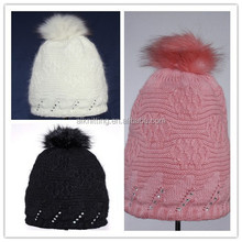 Fashion lady winter knitted hat with pom poms