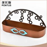 Charming design antique rectangular brown metal flower pot