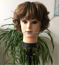 wholesale short synthetic hair wig for man mono top lace front wig