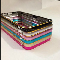 Gold line Dual color Hippocampal Buckle Metal Aluminum Bumper Frame Phone Case for iphone 6 plus