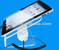2015 new design rechargeable tablet alarm display stand, acrylic stand for ipad, enclosure tablet stand