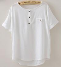 Fashion women cotton linen t shirt