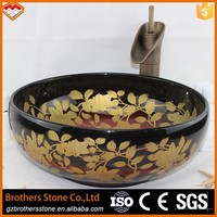 Colorful luxury round wash basin type red color shaped wash basin with gold leaves pattern