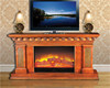 Antique Wooden Fireplace Mantel TV Stand, Decorative Electric Firebox Insert, Realistic Flame Electric Fireplace