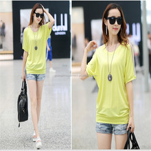 Cotton Breathable Round Neck Batwing Sleeve Shoulder with Mesh Casual Women T-shirt
