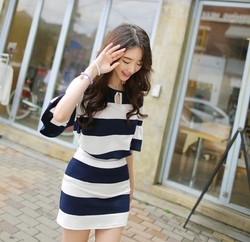 # 1267 South Korea was thin striped strapless lotus sleeve T-shirt + skirt piece fitted cotton