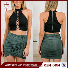 Lace up black crop top high neckline and a centre back zipper women
