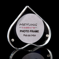 Heart shaped photo frame pendant, Acrylic fridge magnet photo frame