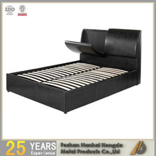 Black lift up gas storage leather bed with wooden slats