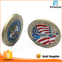 High Quality USA Flag Feature Enamel Metal Custom Souvenir Silver Coin