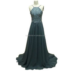 Chiffon Long Evening Gown With Train Beaded Evening Dress Grey