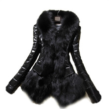 2015 Hot Luxury Women's Faux Fur Coat Leather Outerwear Snowsuit Long Sleeve Jacket Black 2014 fashion free shipping WF-8470
