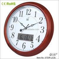 40cm wooden quartz analog auto flip calendar clock