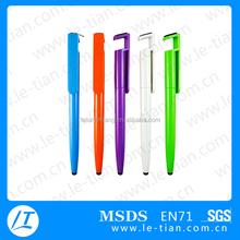 PB-124 Mobile phone holder ball pen,screen cleaner plastic pen,Touch screen pen
