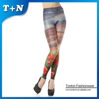 wholesale black tights sexy girls milk silk print colored scenery leggings