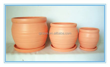 Terra-cotta Ceramic Cheap Garden Plant Pots Set of 3 With Plates