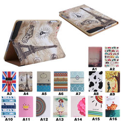 colorful multi design leather tablet cover for iPad mini 1/2/3, for ipad mini 1 2 3 wallet flip stand cover