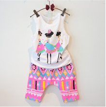 2015 South Korean children kids girls summer cool new money printing sleeveless vest shorts set