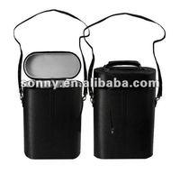 Carry Black Leather 3 bottle wine case